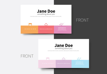 Pastel Panel Business Card Layout