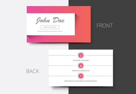 Pink and Orange Gradient Business Card Layout