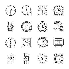Set of 16 time thin line icons.