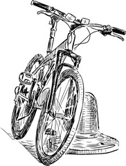 Sketch of a stopped bicycle