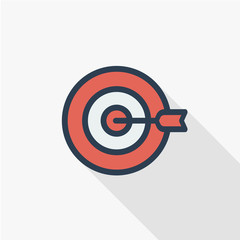 target, goal, success marketing concept, arrow center thin line flat icon. Linear vector illustration. Pictogram isolated on white background. Colorful long shadow design.