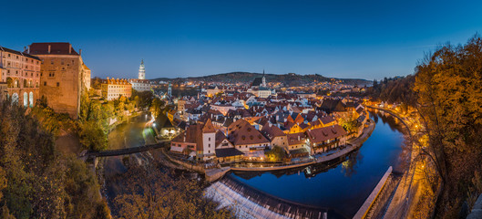 Historic town of Cesky Krumlov at night in fall, Bohemia, Czech Republic