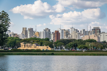 Bandeiras Monument, Ibirapuera Park and city skyline - Sao Paulo, Brazil