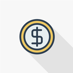 coin dollar, money, finance, currency thin line flat icon. Linear vector illustration. Pictogram isolated on white background. Colorful long shadow design.