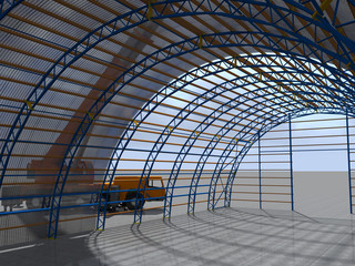 3D rendering. The construction of the arched hangar, truck crane mounts to the metal structure.