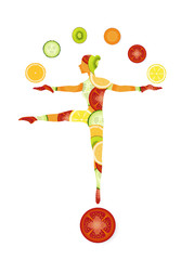 healthy food concept, slim girl silhouette created from vegetable and fruits balancing and juggles with fruits and vegetables, healthy food idea
