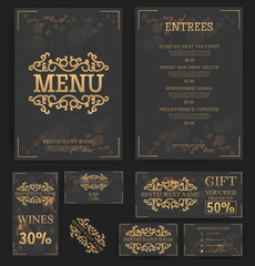 Restaurant menu template. Elegant design. Food flyer. Business card. Vector.
