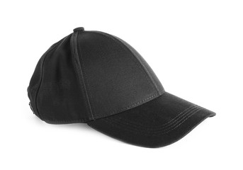 Black cap on white background. Mockup for design