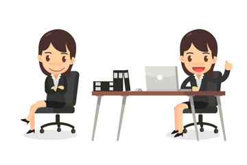Set of business woman character in actions. Business woman is sitting in the office.