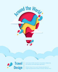 Around the World paper art concept of hot air balloon in sky over clouds. Vector travel origami paper cut banner template
