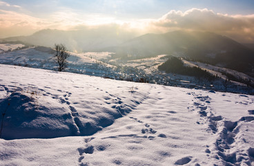 snowy slope in mountainous countryside