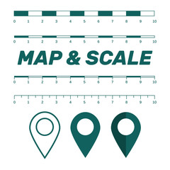 Map scales graphics for measuring distances. Scale measure map vector. Latitude and longitude distance