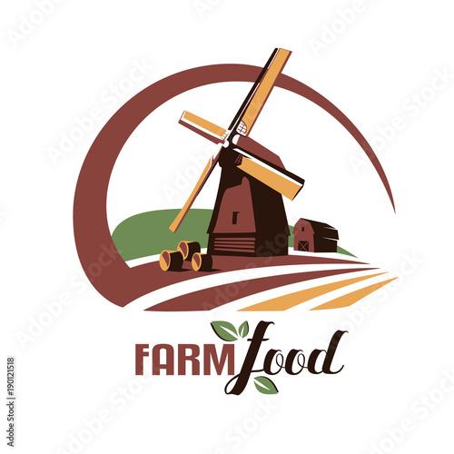 Windmill stylized vector symbol farm food emblem or logo template windmill stylized vector symbol farm food emblem or logo template maxwellsz