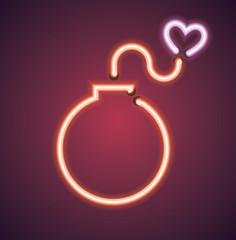 Valentine's neon love bomb vector sign