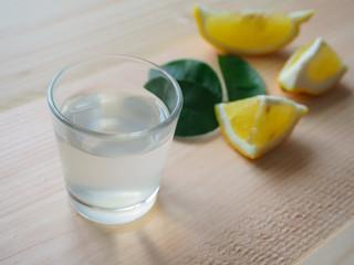 Lemonade with lemon. Lemon vodka Grappa.
