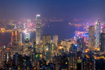 Hong kong downtown the famous cityscape view of Hong Kong skyline during twilight time view from the Victoria peak in Hong Kong.