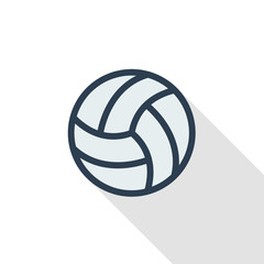 volleyball ball thin line flat color icon. Linear vector illustration. Pictogram isolated on white background. Colorful long shadow design.