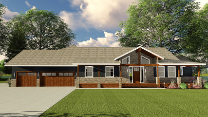 3D Illustration of Luxury Ranch Home