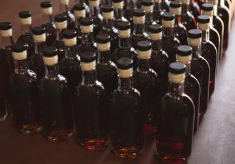Gin bottles arranged in a row