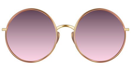 Sunglasses with violet lens and gold metalic frame