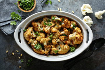 Roasted cauliflower with pine nuts and parsley