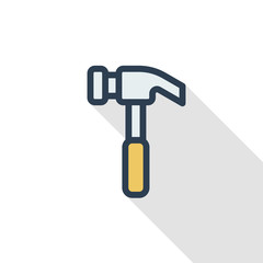 Hammer thin line flat color icon. Linear vector illustration. Pictogram isolated on white background. Colorful long shadow design.