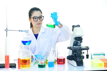 Asian female medical technologist working in laboratory