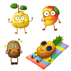 Funny fruit characters isolated on white background. Cheerful food emoji. Cartoon vector illustration: funny quince, cool mango, excited kiwi, sunbathing pineapple