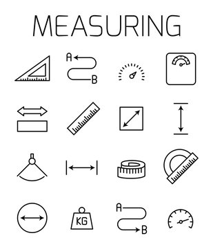 Measuirng related vector icon set.
