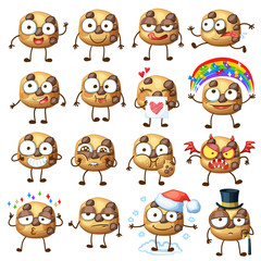 Cartoon choc chip cookie characters illustration 1