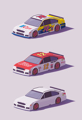 Vector low poly racing cars