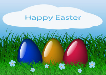 Vector illustration easter banner with grass, colored eggs and sunlight effect in blue sky.