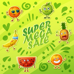 Bright green background with crazy funny fruit characters. Cheerful food emoji present super sale banner