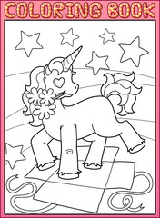 Coloring book page. Little Unicorn Birthday party