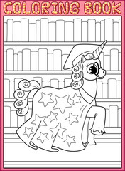 Coloring book page. Astronomy master unicorn horse
