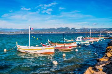 Vue sur les bateaux de pêche  à Six-Fours-les-Plages