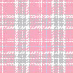 Pink vintage plaid seamless pattern. Female fabric texture. Vector background eps10
