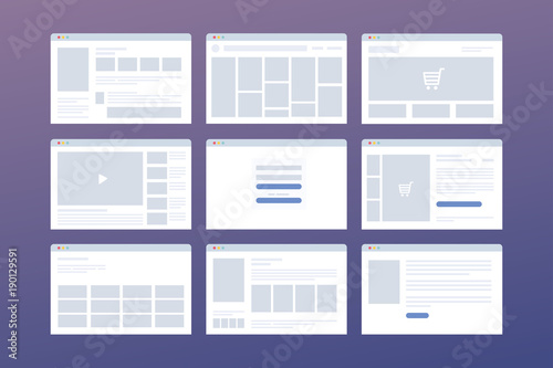Vector set of windows with website page template  Concept of
