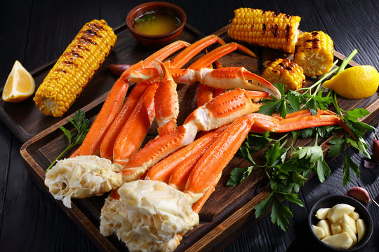 Crab legs served with melted butter