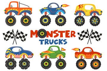 set of isolated monster trucks - vector illustration, eps