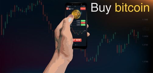 Buy bitcoin. Online crypto payment concept. Smartphone with golden coin, button buy. Pay per click by virtual currency. vector for business, web banners, sites design