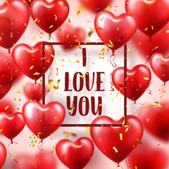 Valentine's day abstract background with red 3d balloons and golden confetti. Heart shape. February 14, love. Romantic wedding greeting card.