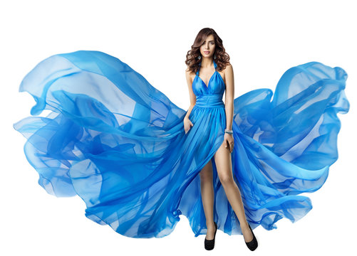 Woman Flying Dress, Elegant High Fashion Model in Fluttering Blue Gown, Beautiful Hairstyle and Make Up, Brunette Girl Isolated on White background
