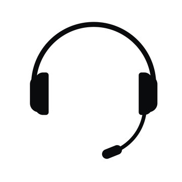 Headphones with a microphone, vector icon.