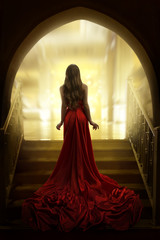 Elegant Woman Silhouette in Long Red Gown, Lady Back Rear View, Fashion Model Dress Fabric Waving on Stairs