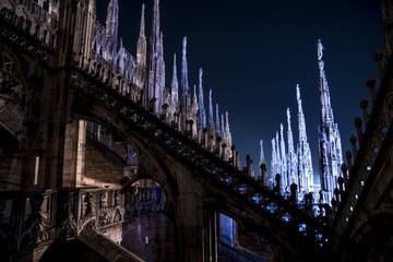 Photo sur Plexiglas Monument Detail of the Milan Cathedral (Duomo di Milano, Italy), night view of the spiers that adorn the whole monument.