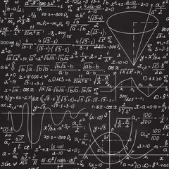 "Mathematical vector seamless background with formulas and calculations, ""handwritten with chalk on a grey blackboard"" effect"