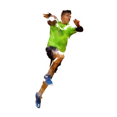 Handball player shooting ball, polygonal vector isolated illustration