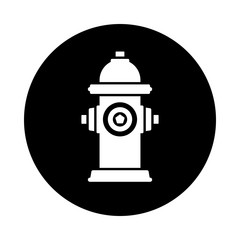 Fire hydrant circle icon. Black, round, minimalist icon isolated on white background. Fire hydrant simple silhouette. Web site page and mobile app design vector element.
