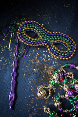 mardi gras mask for masquerade parade with gold